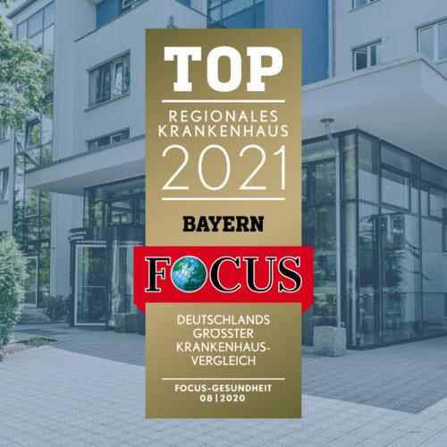Die Dr. Lubos Kliniken wurden vom Magazin FOCUS Gesundheit zum Top Regionales Krankenhaus 2021 Bayern gekuert.